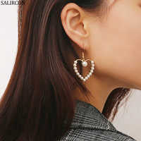 Salircon Temperament Round Drop Earrings Wood Pearl Love Heart Pendant Earrings 2019 Wedding Party Jewelry for Woman Gifts