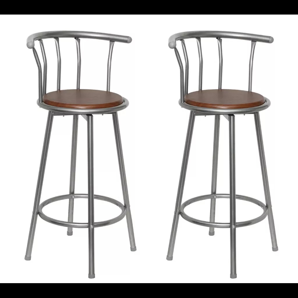 VidaXL Bar Stools 2 Pcs Brown Steel 360 Degrees Swivel Seat Bar Stools For Living Room Or Bar Counter Bar Chairs