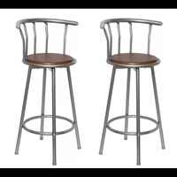 VidaXL Bar Stools 2 Pcs Brown Steel 360 Degrees Swivel Seat Bar Stools For Your Living Room Or Bar Counter