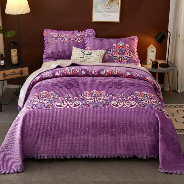 Bed cover+Pillowcases One side crystal One side cotton Bedding set Purple  satin weave Bedspread Single / multiple Quilt Blanket|Bedspread| -  AliExpress