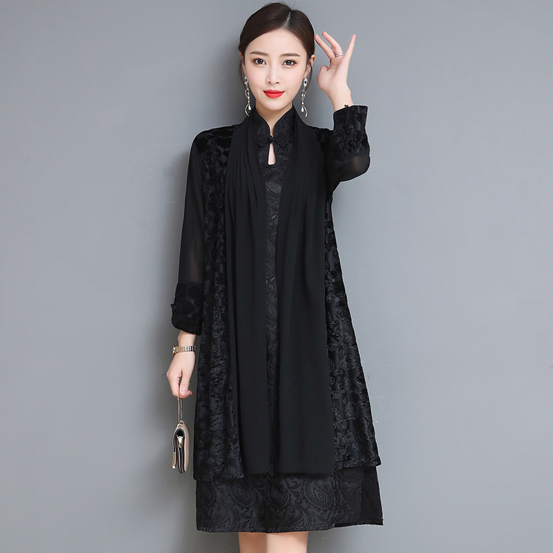 2019 Spring Clothing New Style Lady Cheongsam Mid-length Dignified Glorious Modified Version Two-Piece Set Dress Women's