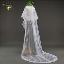 2020 New Veu de Noiva Longo Ivory Sparkle Sequins Lace Edge Wedding Veil One Layer Tulle Elegant Long Bridal Voile Mariage
