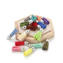 20pcs/lot 38mm Leather Tassel Fringe Keychain Strap Jewelry Fiber Fringe Suede Tassel Key Chains For DIY Jewelry Accessories