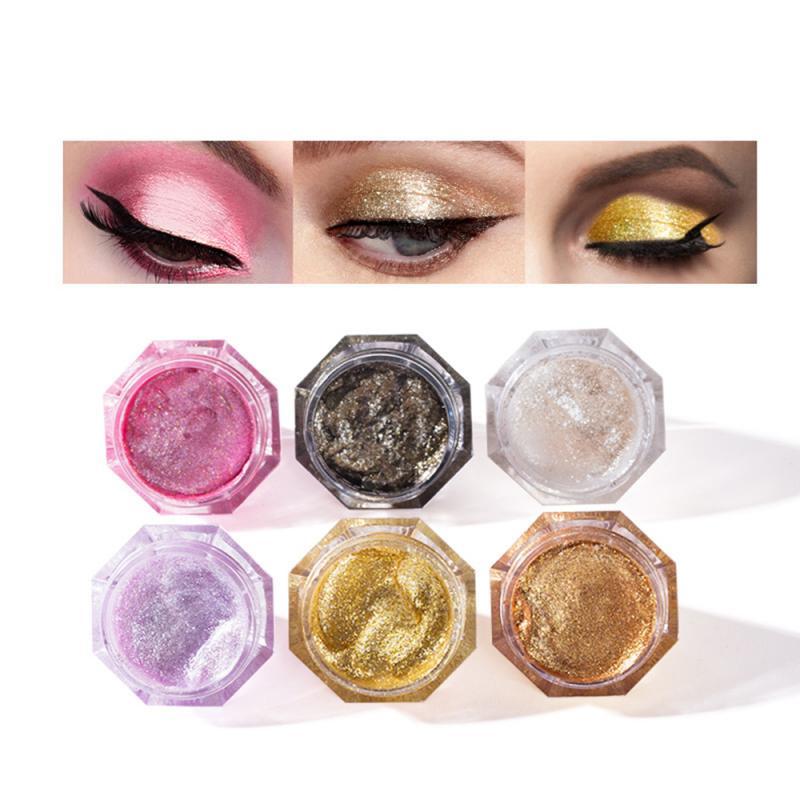 LANGMANNI 6 Color Diamond Pearl Liquid Eyeshadow Palette Makeup Glitter Glossy Eye Shadow Liquid Eyes Cosmetics TSLM2