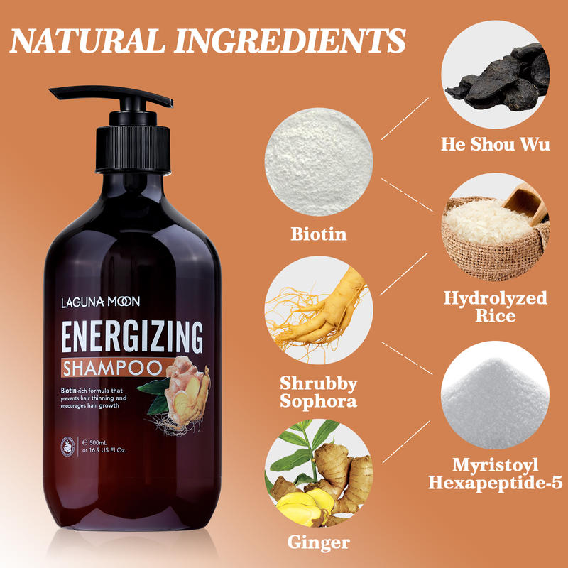 Шампунь для быстрого роста волос LAGUNAMOON, увлажняющий Восстанавливающий Шампунь против перхоти, органические шампуни для предотвращения вып...