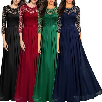BORRUICE Summer Vintage Sexy Lace Women Party Long Dress Elegant Embroidered Hollow Out Chiffon Maxi Dresses Lady Chic Dress elegant velvet party dress women winter 2019 long sleeve maxi bandage bodycon long party dress women plus size blue dress lady
