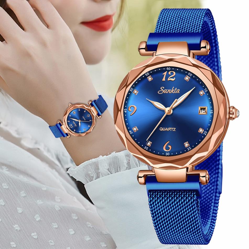 SUNKTA Women Starry Sky Watch Luxury Magnetic Buckle Mesh Band Quartz Wristwatch Female Rose Gold Diamond Watches Zegarek Damsk