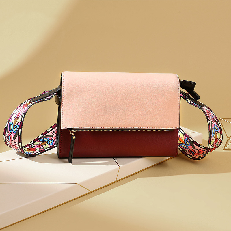 2019 of New Style WOMEN'S Bag Fashion WOMEN'S Leather Bags Contrast Color Korean-style Shoulder Trend Wide-Strap a Generation of