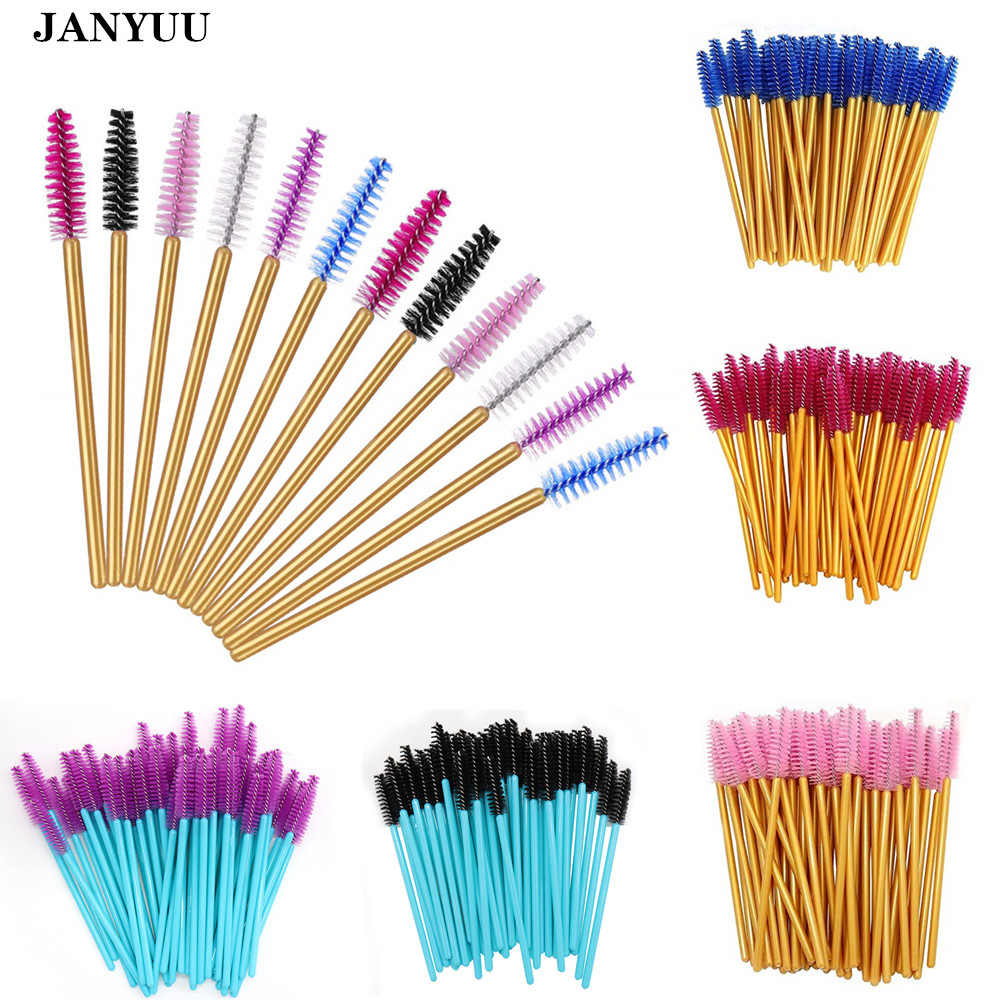 1000pcs Mix Colors Eyelash Brush Top Quantity Nylon Disposable Mascara Wands Lashes Gold Handle Makeup Brushes Eyelash Extension