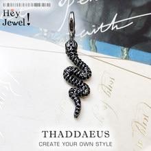 Pendentif serpent noir, bijoux d'hiver 2019 en argent Sterling 925, nouvelle mode Glam, Style européen, accessoire de mode, cadeau pour femme