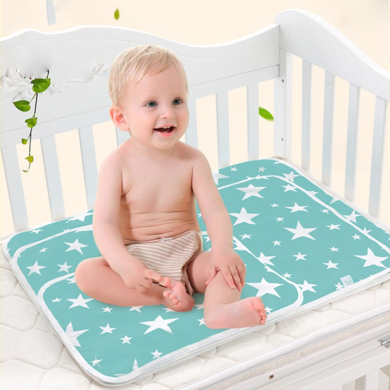 1pcs Baby Nappy Changing Pad Cotton Breathable Diapers Wet Cartoon Baby Waterproof Mattress Bed Sheet Infant Change Mat Cover