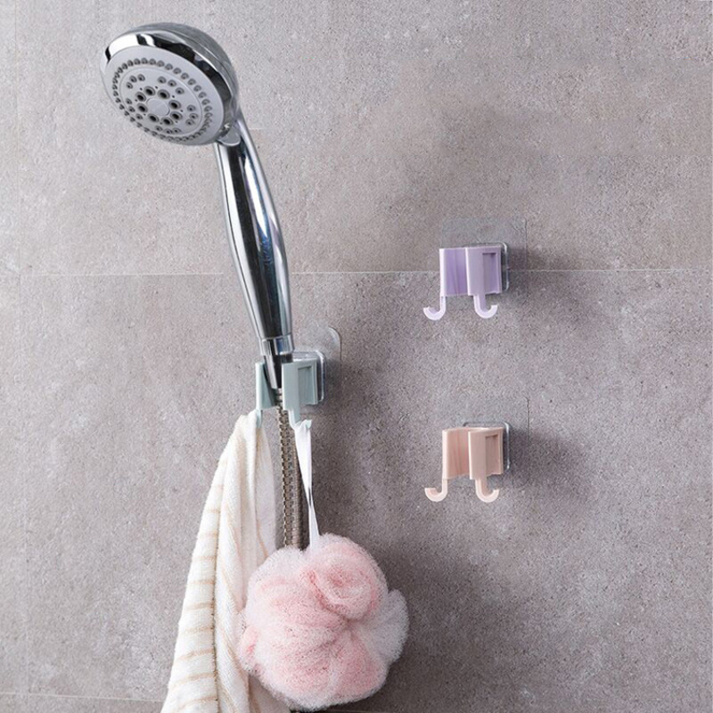 Punch-free Fixed Base Shower Bracket  Handheld Stick On Plastic Showerhead Holder Wall Mounted Bathroom Shower Holder Bracket
