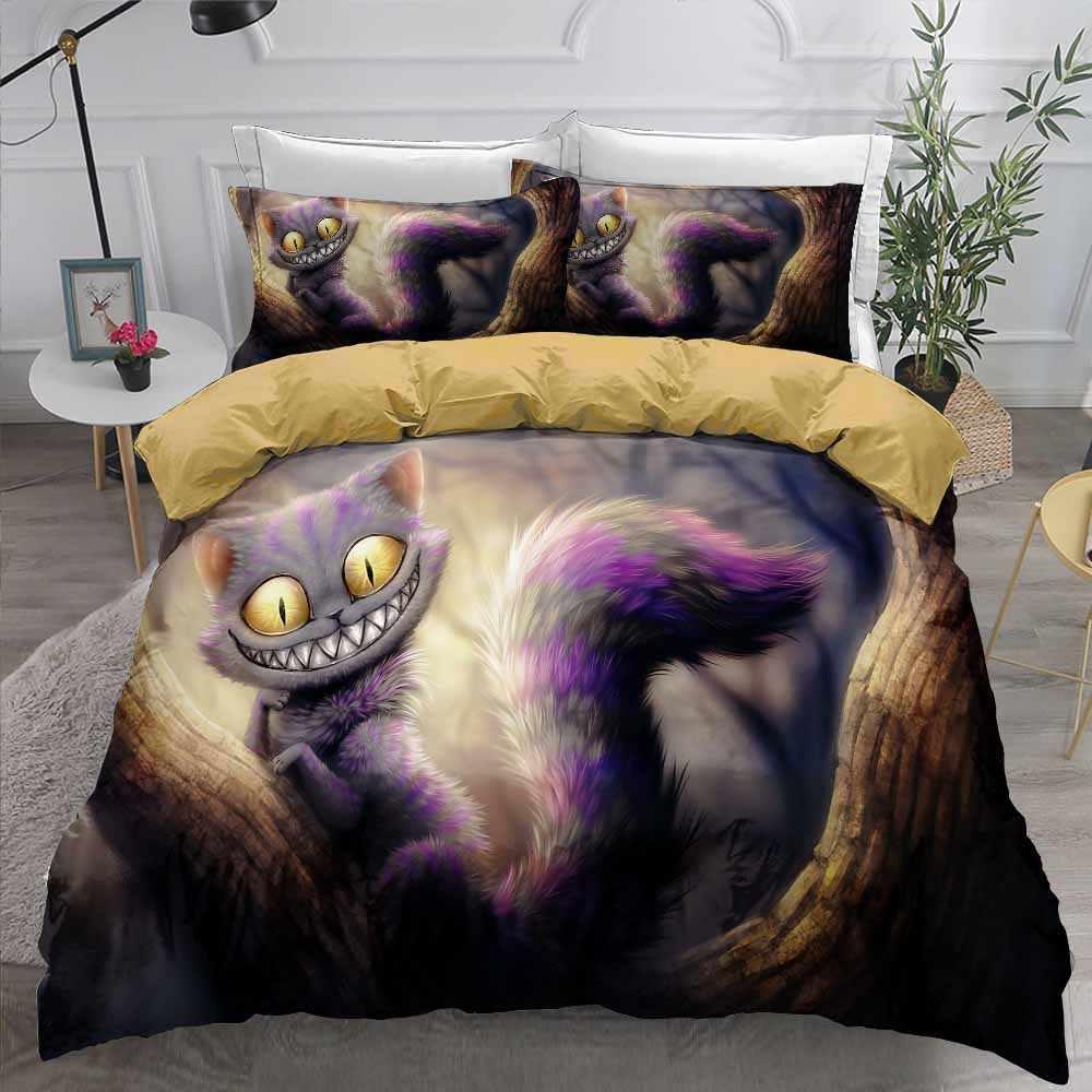 漫画猫寝具セット動物テーマティーンホームベッドカバー枕シングル、ダブルフルクイーン布団カバーセット 2/3 個のため