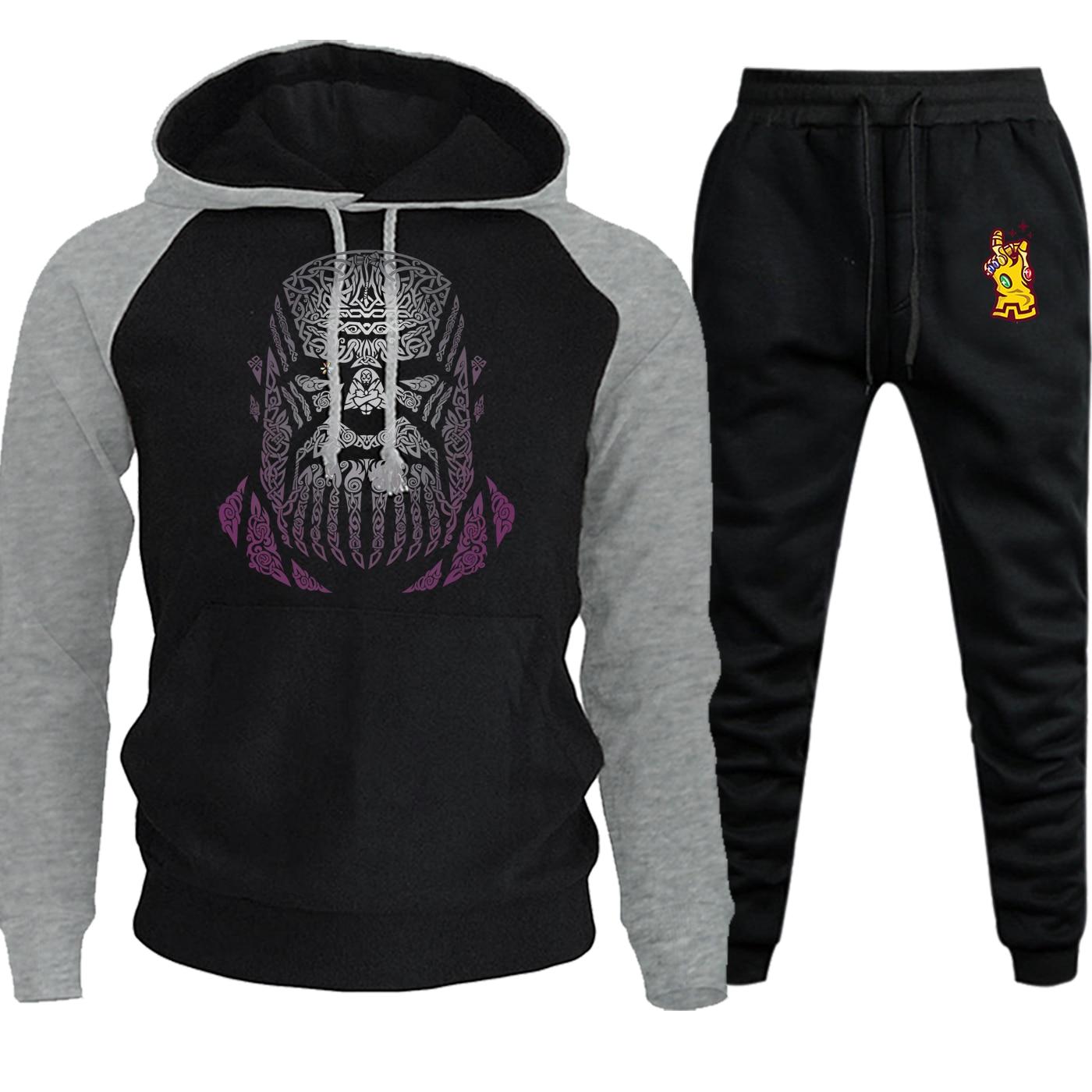 Thanos Printed Raglan Hoodies Mens The Avngers Streetwear Autumn Winter Casual Hoody Fleece Suit Male Pullover+Pants 2 Piece Set