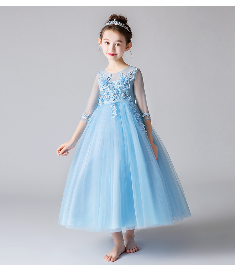 Blue White 2019 tutu baby bridesmaid flower girl wedding dress tulle fluffy ball gown birthday evening prom cloth party dress (17)