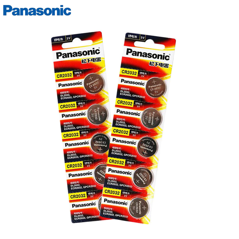10 pieces <font><b>PANASONIC</b></font> original brand new cr2032 battery 3v button battery coin cell for watch computer toy remote control cr <font><b>2032</b></font> image