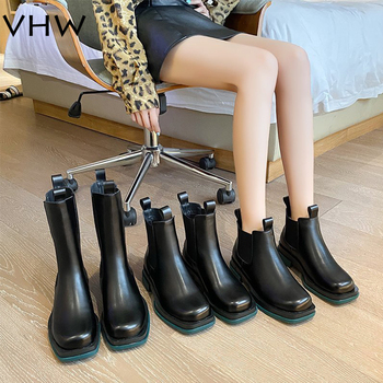 genshuo women s winter boots rivet ankle boots sexy warm women shoes short plush boots office winter shoes women square heel Women Combat Boots 2020 Winter Fashion Platform Plush Motorcycle Boots Gothic Shoes Women Stretch Cloth Warm Fur Ankle Boots