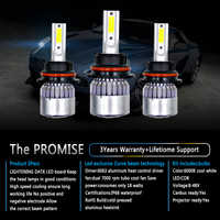 2Pcs C6 LED Headlight 6000K Full Sealed Waterproof 200m Light Range for HB5 H4 HB2 HB4 H10 HB1 H13 9003 9004 9005 9006 9007 9008