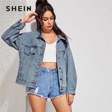 Женская джинсовая куртка на пуговицах, с отложным воротником и карманами