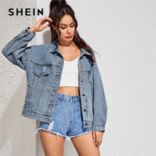 SHEIN Blue Single Breasted Button Front Denim Jacket Coat Women Autumn Streetwear Turn down Collar Double Pocket Casual Outwear