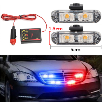 DC 12V 2X2 LED Stroboscopes Cigarette Police Strobe Lights Kit Emergency Vehicles Flashing Warning Light Ambulance Car Truck цена 2017