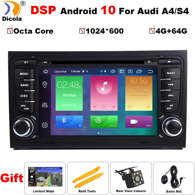 4G + 64G 2 Din 7 ''Android 10 Восьмиядерный радио автомобильный dvd плеер для Audi A4 B6 B7 S4 B7 B6 RS4 2002 2008 RS4 B7 SEAT Exeo 2008 2012