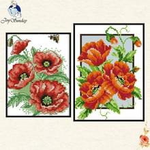 Joy Sunday poppy flowers DIY Embroidery Cross Stitch Kit flowers family decorative patterns embroidery needlewor gift to Friend