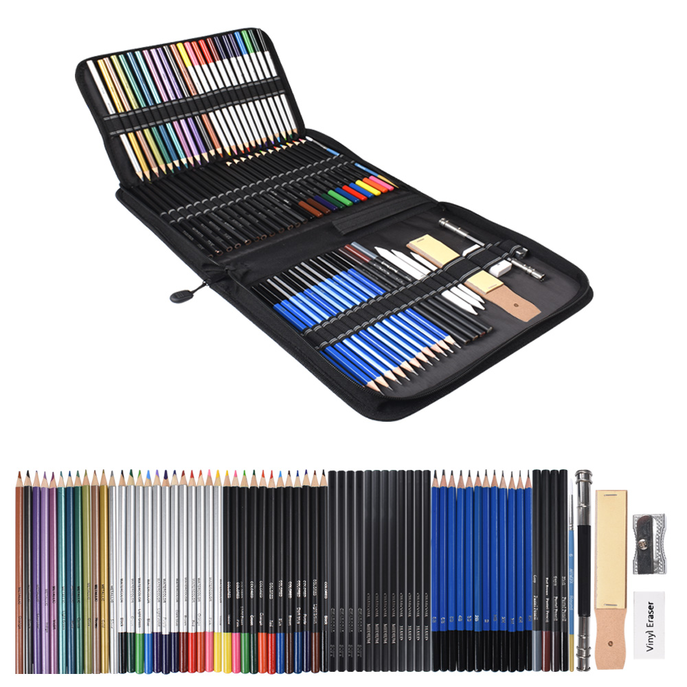 72PCS Drawing Pencils Set Sketch Colored Pencils Watercolor Metallic Oily Complete Beginner Kit Art Supplies With Canvas Case