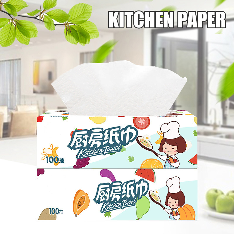 3 Packs Strong Oil-absorbing Kitchen Tissue Wood Pulp Water Absorption Paper Towel New Hh88