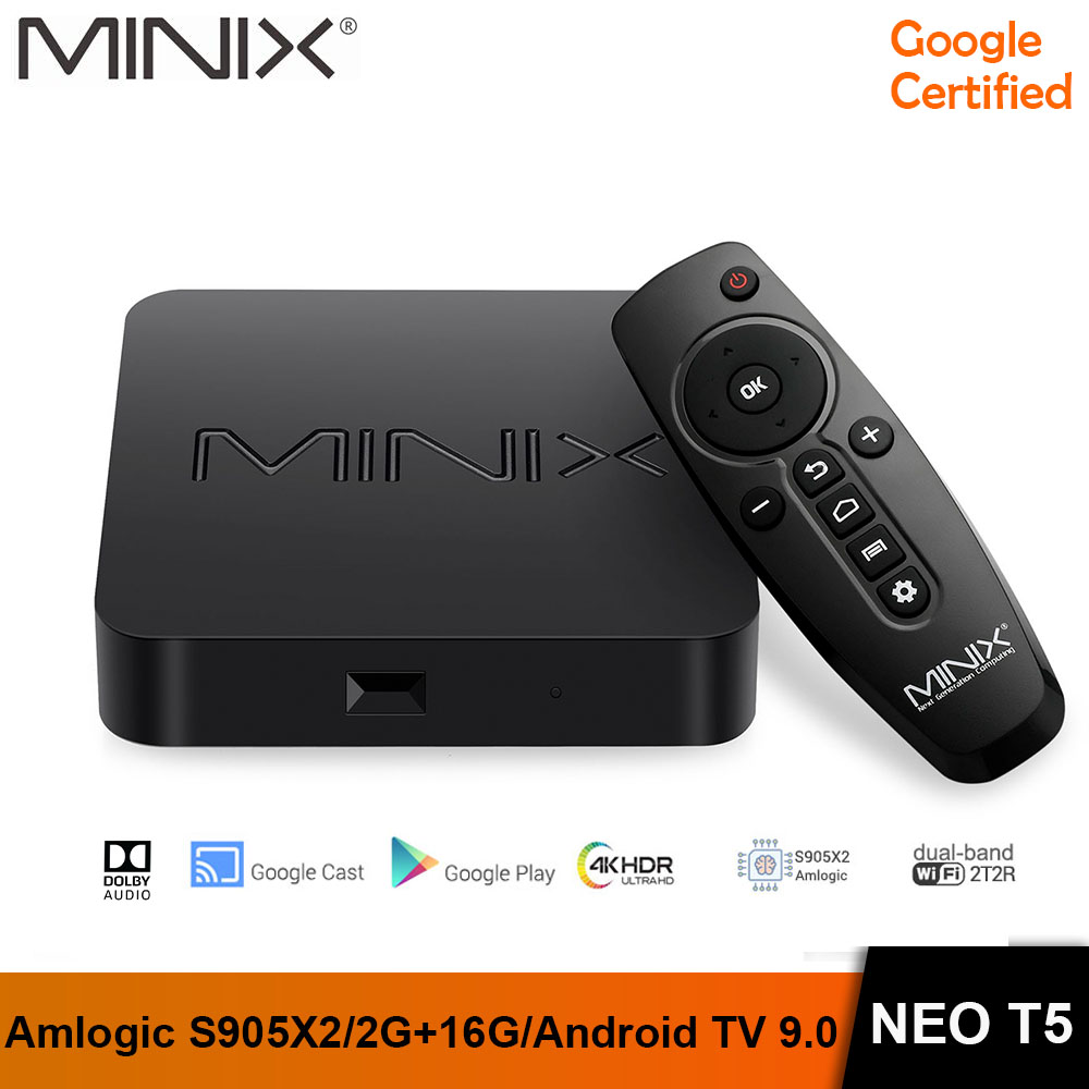 MINIX NEO T5 TV BOX Amlogic S905X2 2G 16G Chromecast Smart TV BOX 4K Ultra HD Google Certified Android TV 9.0 Pie Media Hub