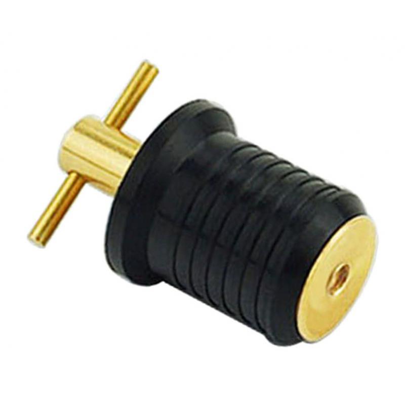 Brass + Rubber Yacht Hull/Livewell/Baitwell Twist Drain Plug Turn-tite Plug