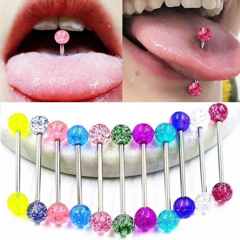 3 uds Acero Inoxidable Industrial barra Piercing lengua bola acrílica luminosa colorido pezón labio Piercing cuerpo Sexy joyería