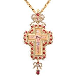 Hip Hop 120cm Long Necklace Pearl Crystal Cross Necklace Gold Color Orthodox Pectoral Enamel Bishop Encolpion Cross for Bishops(China)