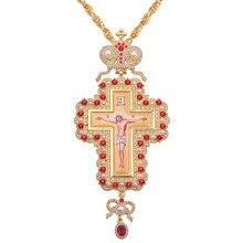Hip Hop 120cm długi naszyjnik perła kryształowy krzyż naszyjnik złoty kolor prawosławny pektoral emalia biskup Encolpion krzyż dla biskupów