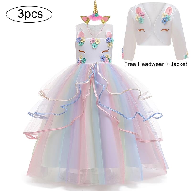 Рождественский Единорог вечерние платья для девочек платье карнавальный костюм принцессы платья красочные свадебные платья с цветком для ...