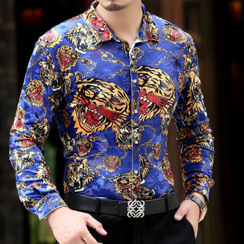 Top Brand High Quality New Arrive Personalized Cool Mens Silk Long Sleeved Shirts Leopard Tiger Printed Shirts Size 3XL