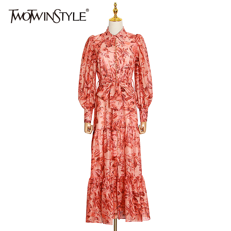 TWOTWINSTYLE Elegant Print Women Dress V Neck Lantern Long Sleeve High Waist Lace Up Patchwork Peals Maxi Dresses For Female New