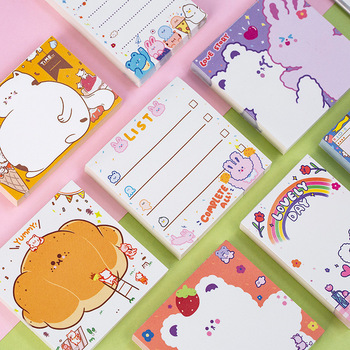 100 страниц/упаковка, милая серия для домашних животных, кот, кролик, медведь, хлеб, блокнот для заметок, канцелярские принадлежности для школ...