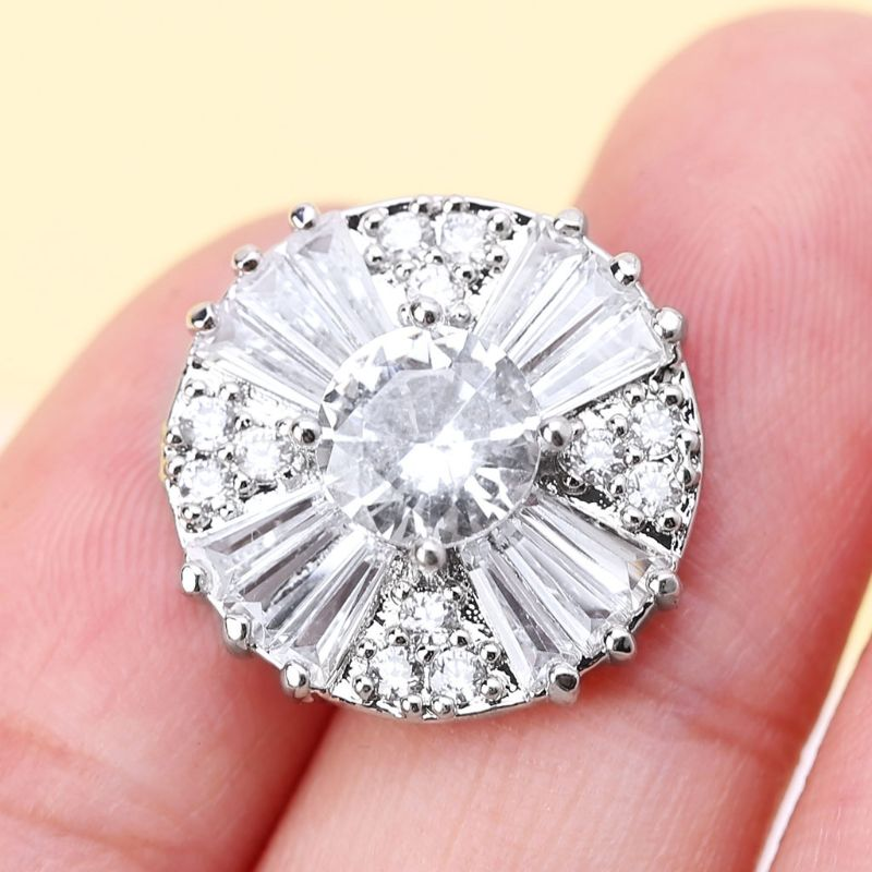 1Pc 17mm Glitter Zircon Round With Cross Shape Decorative Buttons With Metal Loop