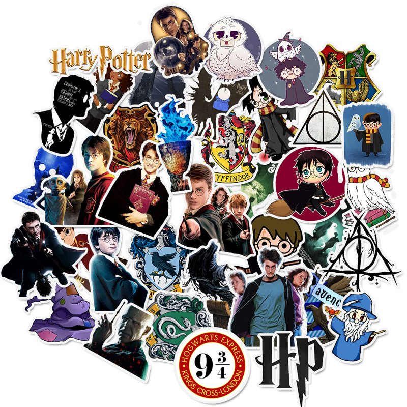 50 Pcs Harry Stickers Potter Cartoon Pvc Waterproof Sticker For Luggage Skateboard Phone Laptop Moto Trunk Guitar DIY Stickers