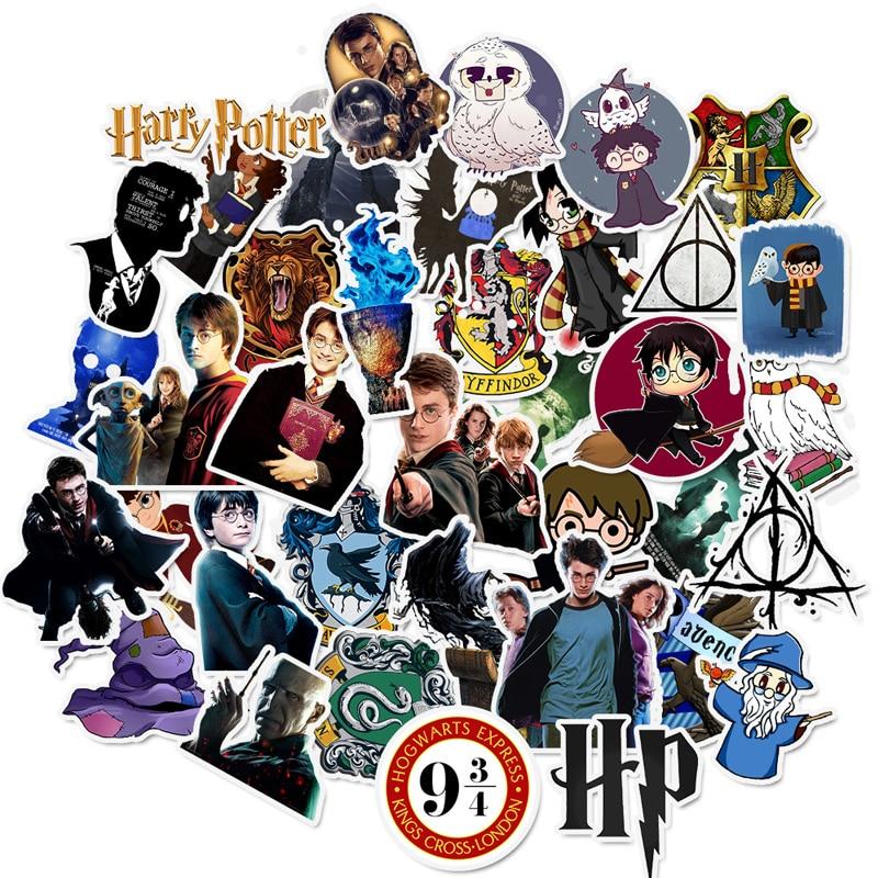 50 Pcs Harry Stickers Potter Cartoon Pvc Waterproof Sticker For Luggage Skateboard Phone Laptop Moto Trunk Guitar DIY Stickers