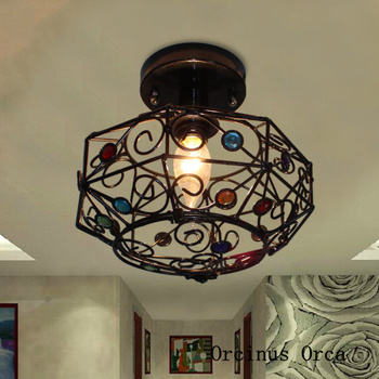 Mediterranean stained glass ceiling lamp corridor bedroom balcony American retro LED hollow iron ceiling lamp free shipping