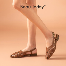 BeauToday Gladiator Sandals Women Calfskin Leather Cross Band Slingback Flats Cover Toe Summer Hollow Ladies Shoes 33036