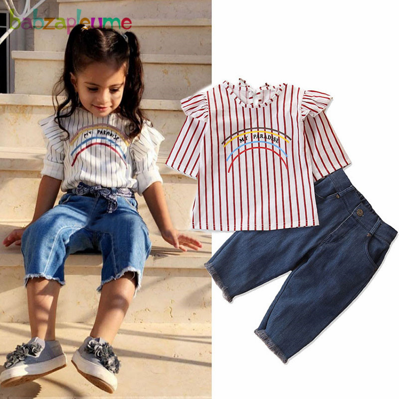 2Piece/1-6Years/Spring Baby Girls Outfits Fashion Casual Stripe T-shirt+Loose Jeans Children Clothes Kids Clothing Sets BC1388 1