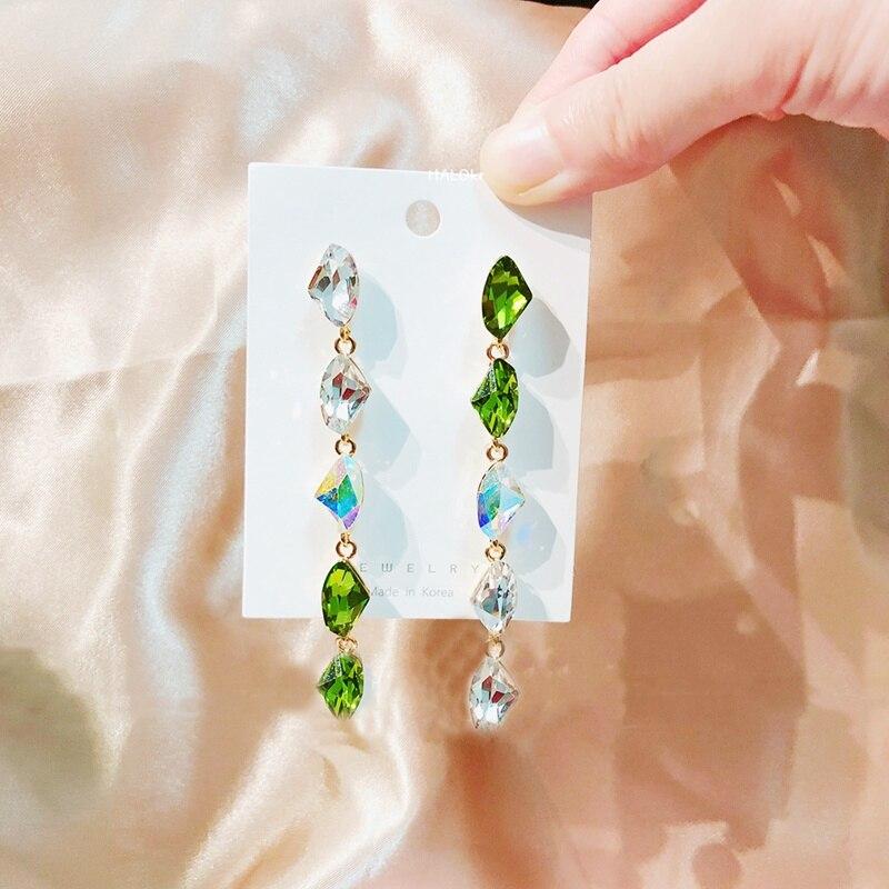 Женские Висячие серьги mengjiqiao винтажные элегантные с зелеными