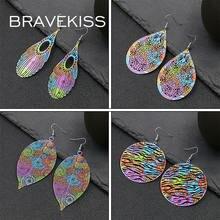 Женские винтажные серьги подвески bravekiss в форме листьев