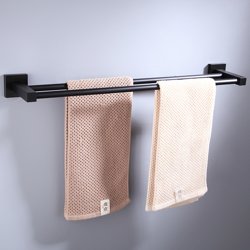 Alumimum Black And White With Pattern Towel Rack Double Poles Square European Style Bathroom Hotel 2-tier Towel Bracket Towel Ba