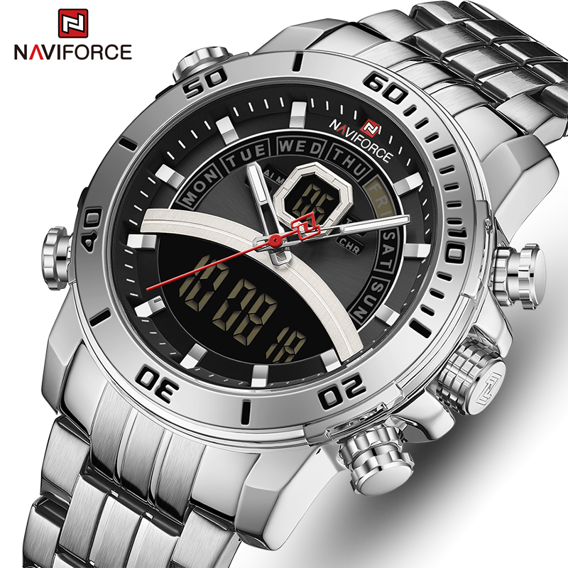 New NAVIFORCE Men Watch Top Luxury Brand Mens Sports Quartz Watches Chronograph Male Clock Stainless Steel Relogio Masculino(China)