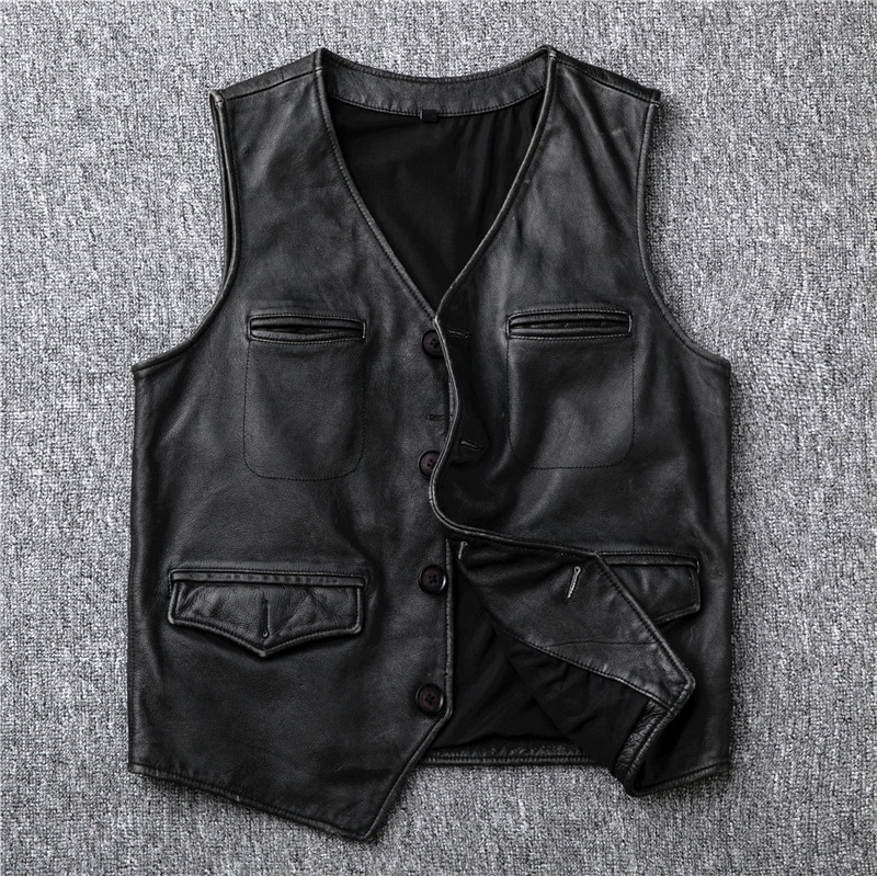 Free Shipping.sales.fashion Genuine Leather Vest.100% Cowhide Coat.slim Leather Jacket.vintage Style Short Vest