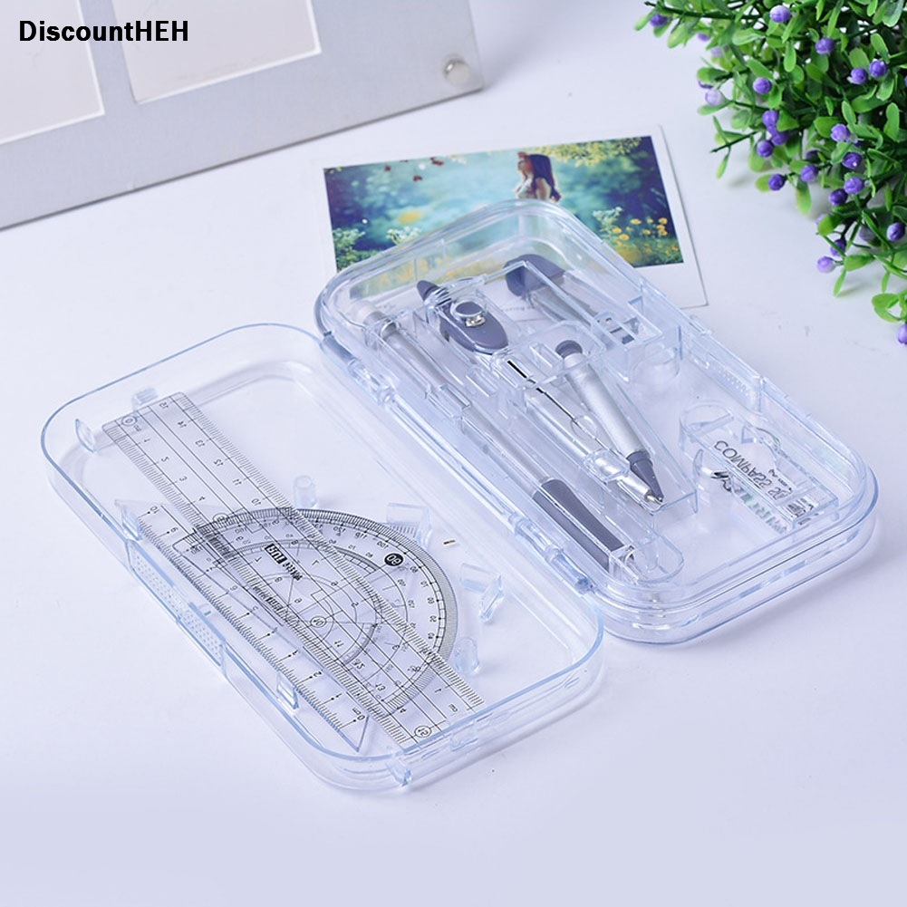 1 Set Simple Style Protractor Compass  Straight Ruler Rulers Set Case